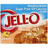 Jell-O Sugar-Free Gelatin Dessert, Peach, 0.30-Ounce Boxes, (Pack of 6)