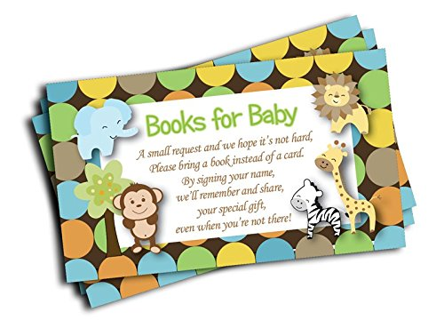 Jungle Baby Shower Book Insert Request Cards (50-Cards) (Baby Shower Invitations Books)