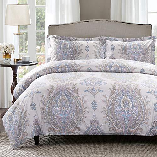 (Moonleaf 3 PC Duvet Cover Set - 100% Cotton Paisley Pattern Printed Bedding Set (Ellie, King 104