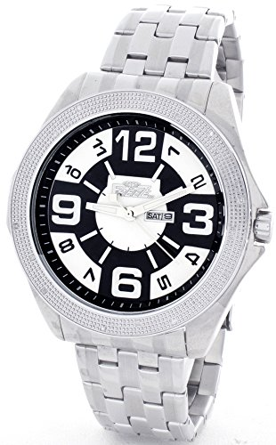 Freeze Mens Genuine Diamond Watch Stainless Steel Silver Face #FR-755