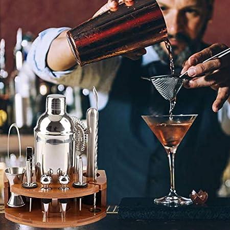 Juego de 12 utensilios de barman de acero inoxidable, coctelera, filtro de pinza, batidora de varilla, pinza para cuchara, sacacorchos, sacacorchos, juego profesional perfecto para barman