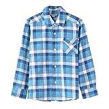 Bienzoe Boy's Warm Flannel Button Down Long Sleeve Plaid Shirt Blue 11/12