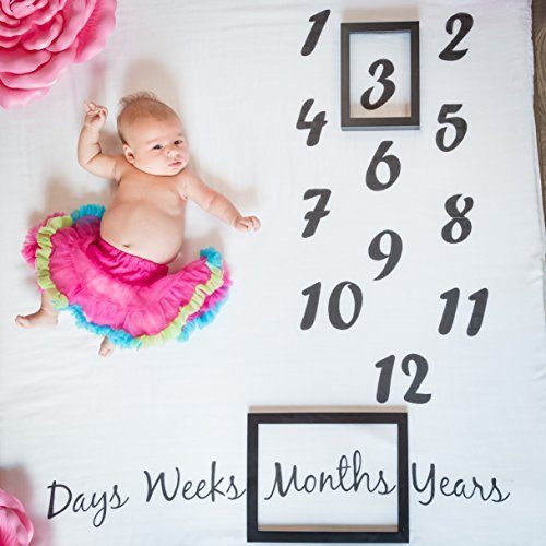 Danha Baby Milestone Blanket Monthly Photo Prop | Infant Baby Boy Girl Newborn Photography Backdrop Props | Large Muslin Swaddle Blankets | 47quot x 47quot