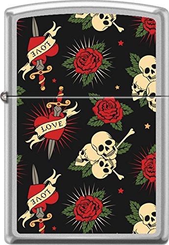 Zippo Tattoo Art Roses Hearts Love Dagger Skulls Satin Chrome WindProof Lighter