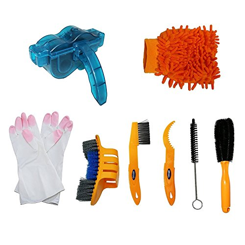 SHUGUAN Bicycle Cleaning Tool Kits 8 Pieces Bike Cleaning Toll Bike Chain Cleaner Tool Wheel Cleaner Brush Compact Multipurpose Practical for Mountain, Road, City, Hybrid,BMX Bike and Folding ()