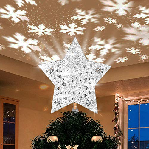 Yostyle Christmas Tree Topper Lighted with Silver Star Snowflake Projector, LED Rotating Magic Snowflake, 3D Hollow Glitter Lighted Silver Snowflake Tree Topper for Christmas Tree Decorations