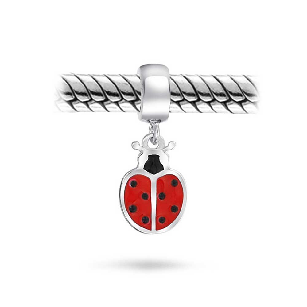 La Chance dinsectes Coccinelle Rouge Charme Jardinier Dangle Bead Bracelet europ/éen sinscrit en Argent Sterling