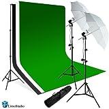 LimoStudio 800 Watts Premium Portrait Photo Studio Continuous Light, Umbrella Kit, Photo Studio White, Black, Green Chromakey Backdrop, AGG224V2