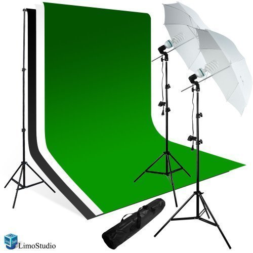 LimoStudio 800 Watts Premium Portrait Photo Studio Continuous Light, Umbrella Kit, Photo Studio White, Black, Green Chromakey Backdrop, AGG224V2 by LimoStudio