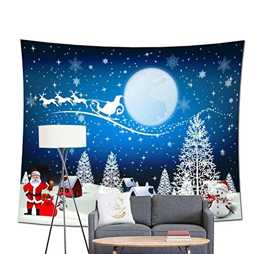 POPPAP Christmas Wall Decor Tapestry, with Winter Wonderland Santa Claus Elk Fly Moon Stars Snow Tree House Print Christmas Party Scene Setters Wall Decoration Background Accessory(71