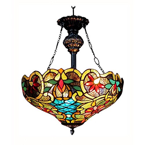 (Chloe Lighting CH1A674VB18-UH2 Leslie Tiffany Style Victorian 2 Light Inverted Ceiling Pendent with Shade, 28.25 x 18 x 18