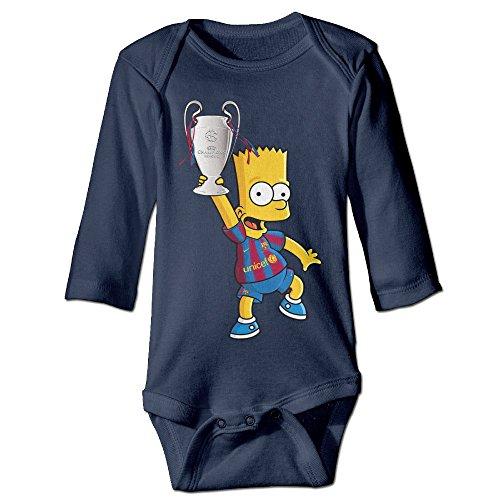 Price comparison product image NINJOE Newborn Babys Futbol Club Barcelona Long Sleeve Romper Bodysuit Outfits Navy 12 Months