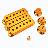 WINOMO Fender Stratocaster Replacement Accessory Kit Gold Strat Guitar Pickup Covers Knobs Switch Tip Set