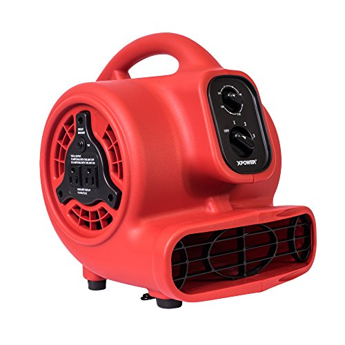 XPOWER P-200AT 1/8 HP 600 CFM 3 Speed Mini Air Mover with 3-Hour Timer and Built-In Dual Outlets for Daisy Chain, 1.5-Amp by XPOWER