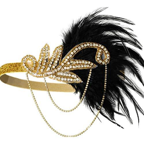 ShiyiUP Retro Feather Headband Crystal Beaded Wedding Headpiece, A-gold, One Size]()