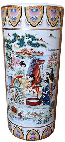 Oriental Furniture Warehouse 18'' Satsuma Style Painted Porcelain Umbrella Stand