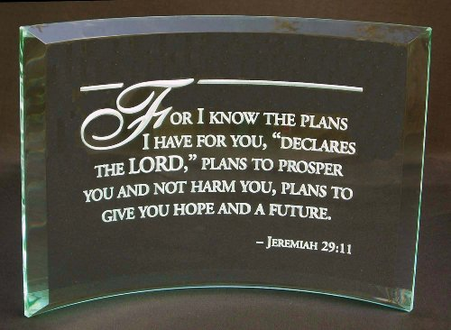 Glass Plaque Beveled (Jeremiah 29:11 Bible Verse: Hand Etched Beveled Glass Plaque)