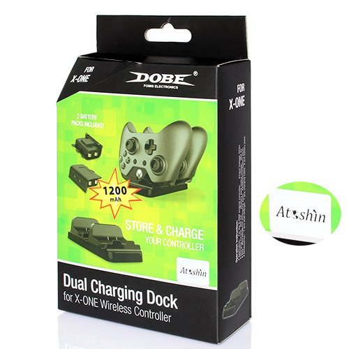AToshin Dual Charger Dock Station with Two Batteries for Xbox One