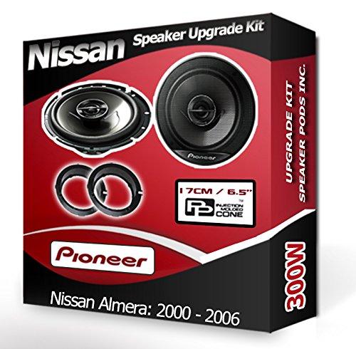 Pioneer Nissan Almera Altavoces de Puerta Frontal Altavoces de Coche Anillos Adaptadores Pods 300W