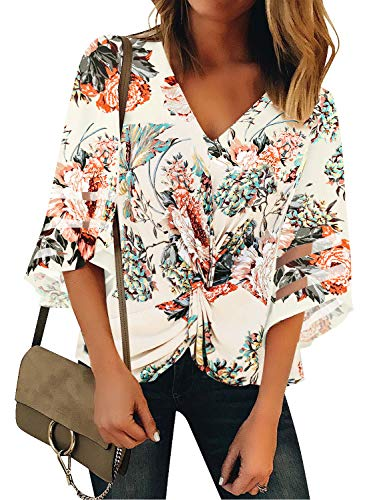 GRAPENT Women's Beige Floral Casual 3/4 Bell Sleeve Blouse V Neck Twist Front Mesh Panel Loose Top Shirt Size Large US 12-14