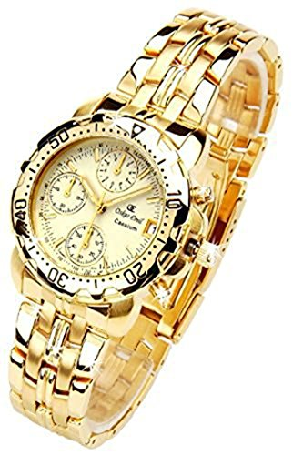 Oskar Emil Gents Caesium 1119G 23K Gold Chronograph Sports Watch with Cream Dial RRP $495