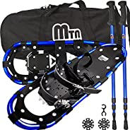 """Snowshoes with Adjustable Trekking Poles for Men and Women,Aluminum Frame Carrying Bag 30"""" Blue"""