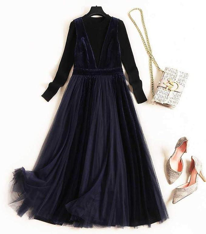 Conjunto de Dos Piezas de Vestido de Terciopelo Dorado con Malla ...