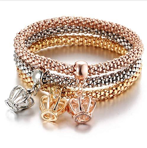 Crystal Diamond Pendant Popcorn Bracelet Crown Stretch Corn Chain Tricolor Bracelet,Crown