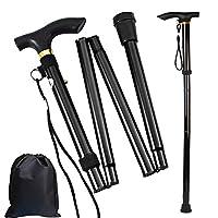 Gtlzlz Folding Cane, Trekking Poles for Men, Women, Collapsible Walking Stick, Walking Cane with Carrying Bag, Adjustable,Lightweight, Anti Shock, Rubber Base for Hiking Camping