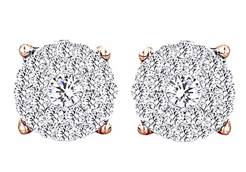 Round White Natural Diamond Hip Hop Cluster Stud Earrings 18K Solid Rose Gold (3 Cttw) by Wishrocks