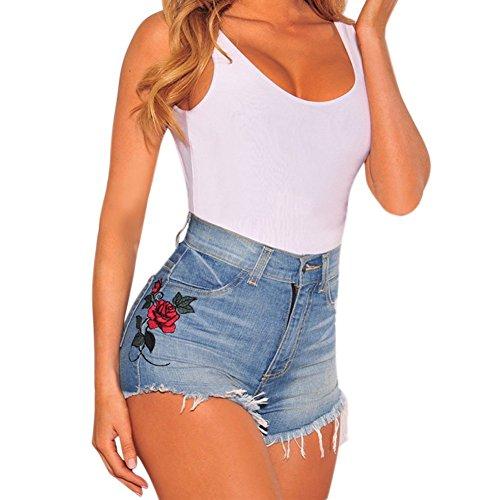 Pants Blu Denim Donne Pantaloncini A Casuale Minetom Sexy Corti Alta Allentato Estate Jeans Hot Moda Shorts Vintage Ricamo Stampata Vita 6xTTHS