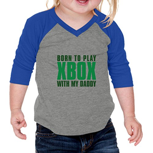 Price comparison product image Born To Play Xbox With My Daddy Infants Jersey V Neck 3/4 Sleeve Gray Royal Blue 12 Months