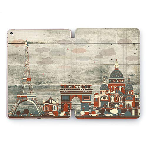 Wonder Wild World Cities Design Case for Apple iPad 2 3 4 Pro 9.7 11 inch Mini 1 2 3 4 5 Air 2 10.5 12.9 2018 2017 5th 6th Gen Clear Smart Hard Cover Eiffel Tower France Wooden Plank Europe Travel -