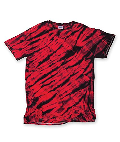 - Gildan Tie Dye 95 Men's Adult Tiger Stripe Tee Black/Red 3XL
