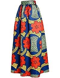 Afibi Women African Printed Casual Maxi Skirt Flared...