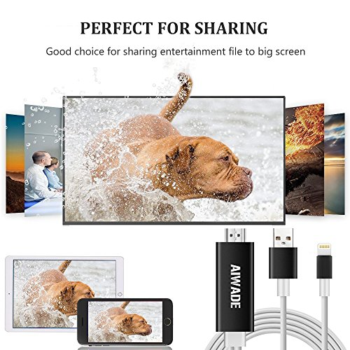 Lightning to HDMI Adapter, iPhone to HDMI Cable 1080P Digital AV HDTV Cord Dongle for Apple iPhone X/8/8 Plus/7/7+/6/6S/SE/5S, iPad Pro Air Mini iTouch Lightning to HDMI Converter Adapter from Aiwade by AIWADE (Image #7)