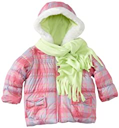 Pacific Trail   Kids Baby Girls\' Plaid Jacket With Scarf, Pink, 24 Months