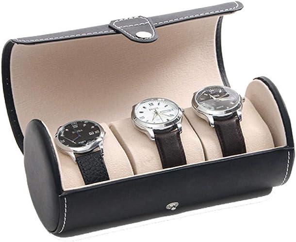 FIONAT Caja para Relojes Cajas para Joyas Hombre Mujer Regalo Viaje Cuero Artificial Caja De Almacenamiento De Exhibición De Vacaciones para Hombres 19.5 * 9Cm: Amazon.es: Joyería