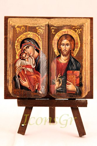 (Wooden Greek Christian Orthodox Wood Icon of Mother of Jesus & Jesus /Mp11)