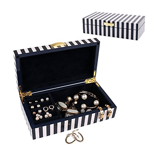 Storage Gloss High Box (A Comely Lacquered Jewelry Box Storage A-5023, High Gloss Wooden Accessories Organizer Holder Case (Navy Blue Striped))