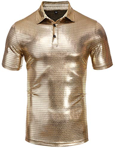 Daupanzees Mens Polo Shirt Metallic Shiny Nightclub Slim Fit Short Sleeve Button Down Party Shirts(Gold XL)