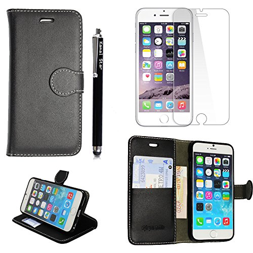 Kamal Star® iPhone 6 / 6S Black Book PU LEDER CASE COVER HÜLLE ETUI TASCHE SCHALE+ Free Tempered Glass Screen Protetor + STYLUS