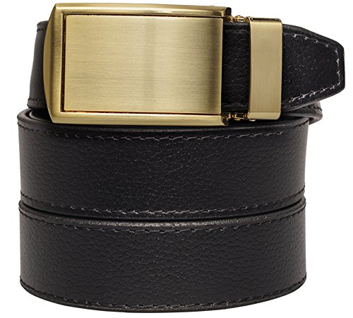 slidebelts-mens-animal-friendly-leather-belt-without-holes-brushed-gold-buckle-black-leather-trim-to