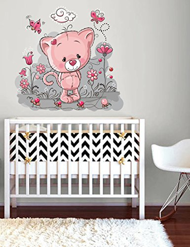 StickersForLife cik273 Full Color Wall Decal Cute Kitty Butterfly Flowers Cot Children