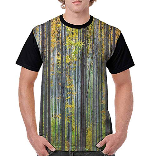 Cotton T-Shirt,Autumn Season Beech Forest Fashion Personality Customization
