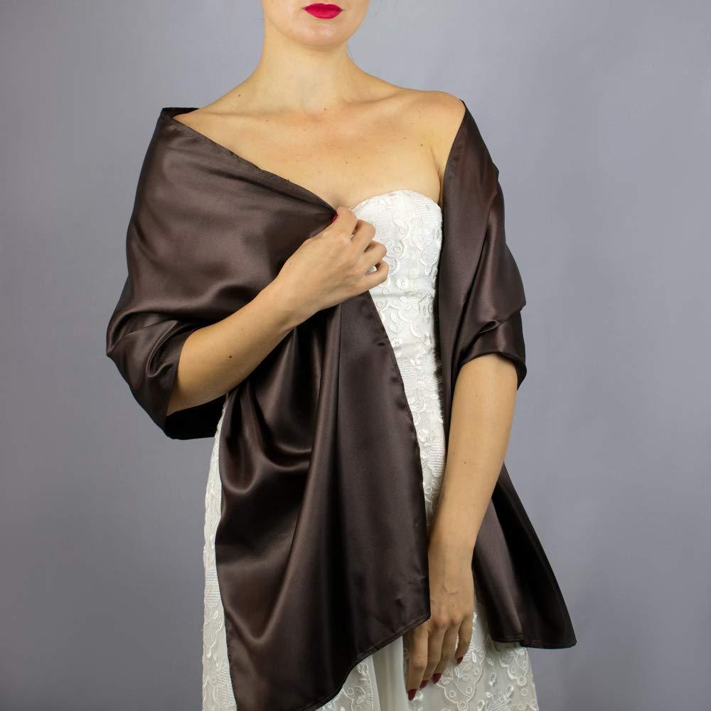 Châle Écharpe Étole Satin Femme Mariage sur Robe de Soirée Mariée brun chocolat