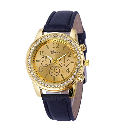 Watch, Womens Watch, Faux Chronograph Analog Alloy Quartz Wrist Watch Retro Exquisite Luxury classic Bracelet Casual business Watches For Ladies Teen Girls (Black)