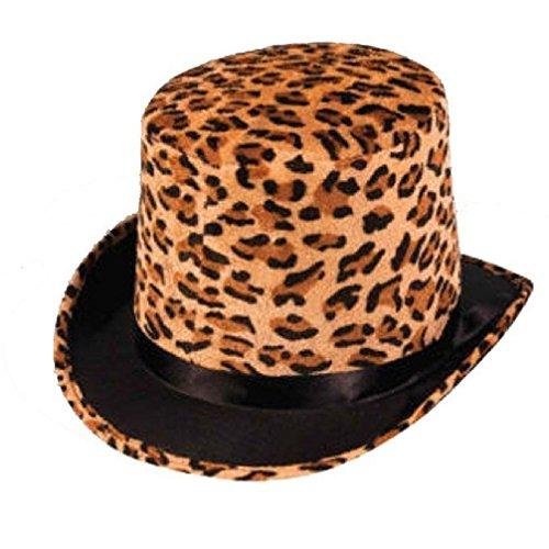 [Leopard Plush Wild Animal Pimp Top Hat Adult Jungle Costume Accessory] (Pimp Hat With Feather)