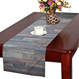 InterestPrint Blue Grey Grunge Rustic Planks Barn House Wood Table Runner Cotton Linen Cloth Placemat Home Decor for Home Kitchen Dining Wedding Party 16 x 72 inches