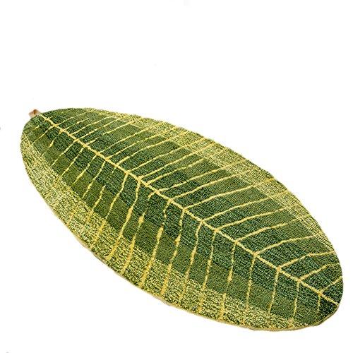 Dingang Green Leaf Shaped Oval Bathmat Living Room Carpet Bedroom Rug Washable Rugs Home Decorator Floor Rug and Carpets(17.7